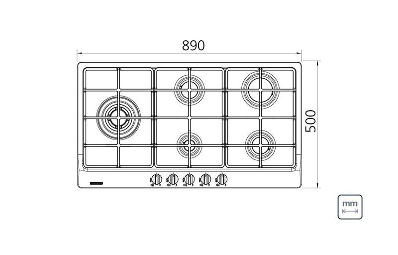 Cooktop Inox 5 Queimadores Penta Plus 5GX Tri HE Safestop 90 94752/104 Tramontina
