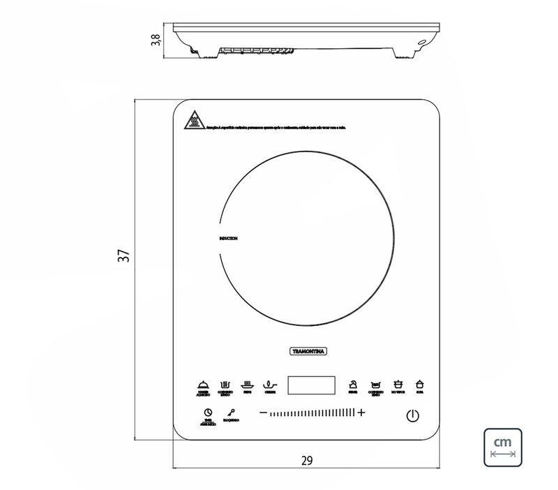 Cooktop Portátil 1 Área Elétrico por Indução Vitrocerâmico Slim Touch 127 V Tramontina 94714/131