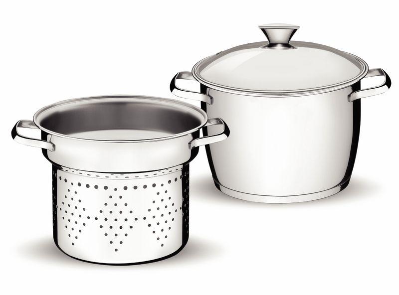 Jogo Cozi-Pasta Allegra 20 cm 2,4 L em Aço Inox com Fundo Triplo 2 Peças Tramontina 65650/064