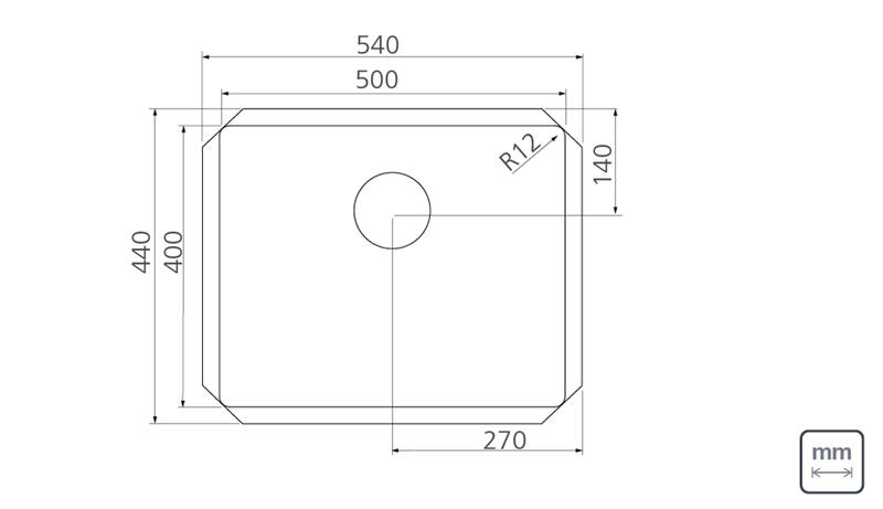 Cuba de Embutir Quadrum Undermount 50x40 cm em Aço Inox com Acabamento Scotch Brite Design Collection Tramontina 94007/112