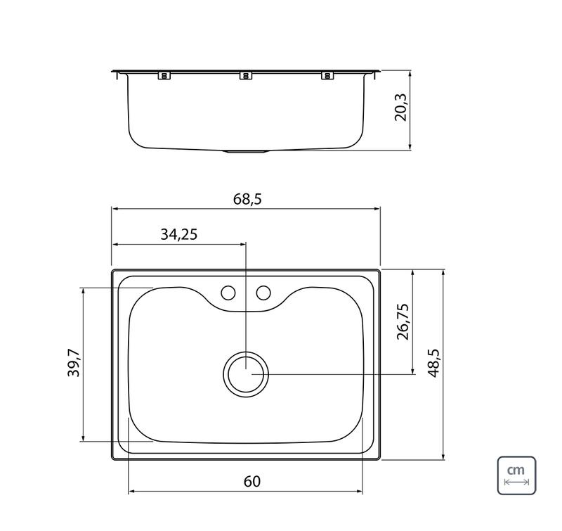 Cuba de Sobrepor Morgana 68x48 cm em Aço Inox com Acabamento Acetinado com Válvula, Dosador de Sabão, Cesta coador e Torneira Tramontina 93806/172