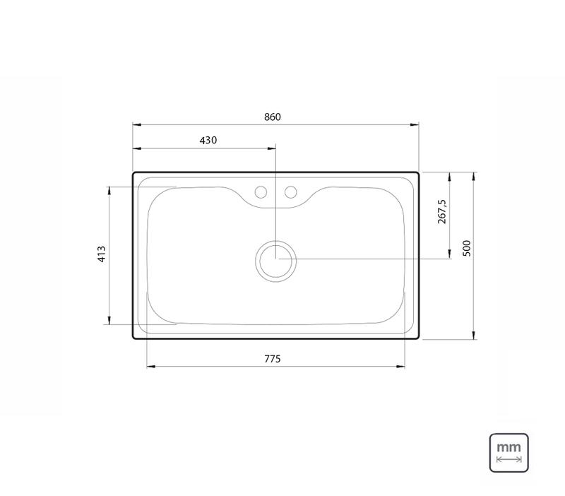 Cuba de Sobrepor Morgana Maxi 86x50 cm em Aço Inox com Acabamento Acetinado com Válvula, Dosador de Sabão e Cesto Aramado Tramontina 93801/152