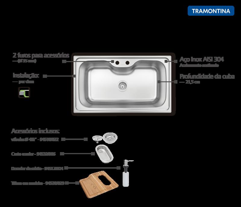 Cuba de Sobrepor Morgana Maxi 86x50 cm em Aço Inox com Acabamento Acetinado com Válvula Dosador de Sabão, Tábua e Cesto Coador Tramontina 93801/102