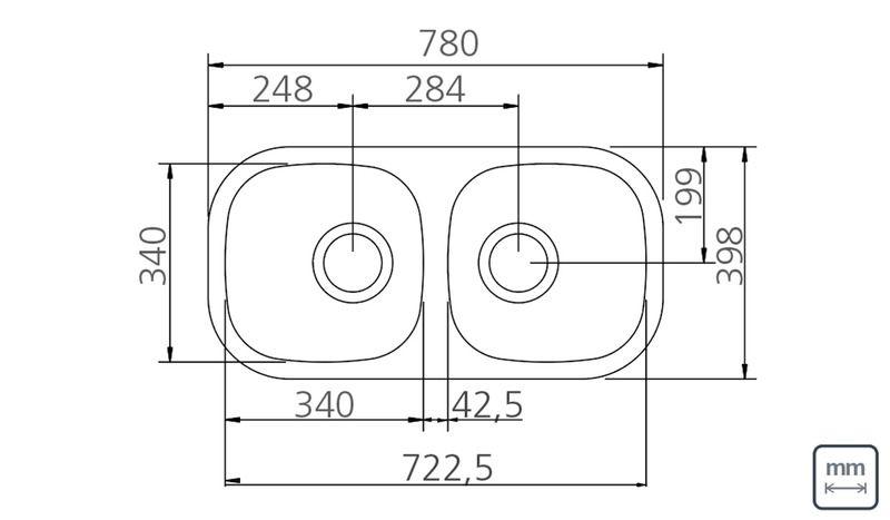 "Cuba Dupla Perfecta Aço Inox 2C 34BL Polida 78x40x14 cm + Válvulas 4 1/2""  94061/402 Tramontina"