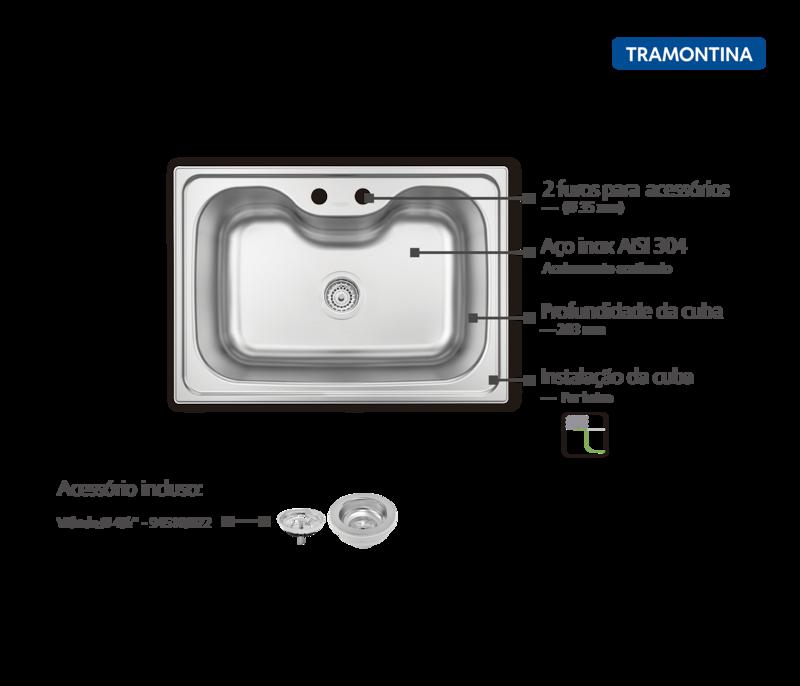 Cuba Morgana Undermount 69x49 cm em Aço Inox com Acabamento Acetinado com Válvula Tramontina 93806/192