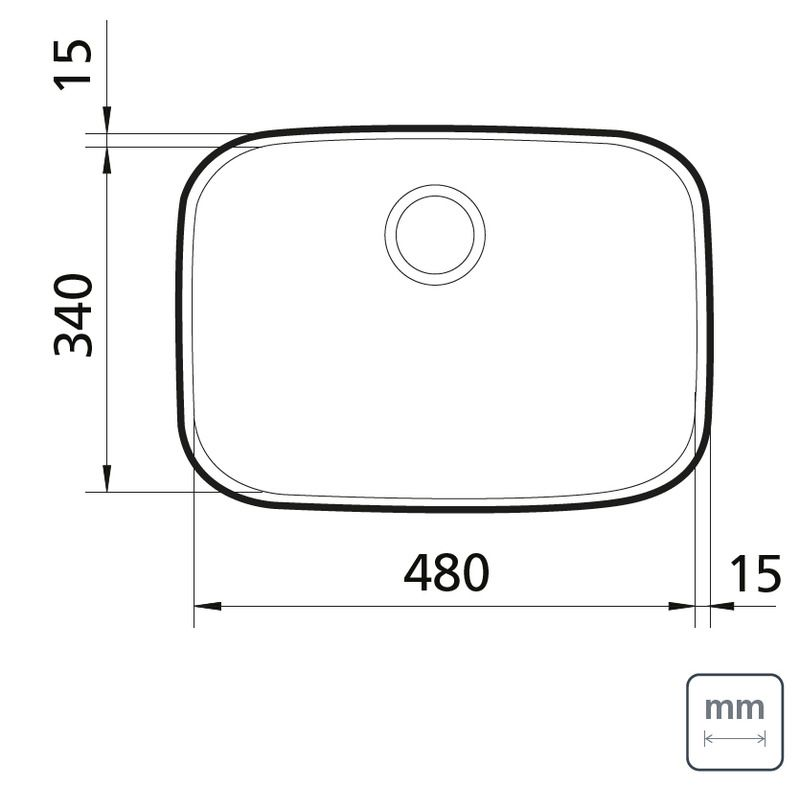 Cuba de Embutir Lavínia 48x34 cm 25,5 L em Aço Inox Acetinado Tramontina 94027/102