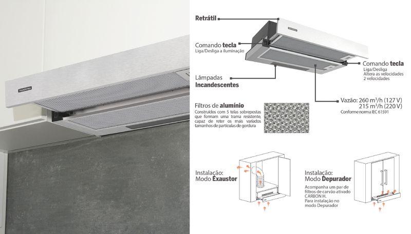 Depurador de Parede 60 cm Aço Inox Retrátil Slide 127 V Tramontina 94810/005