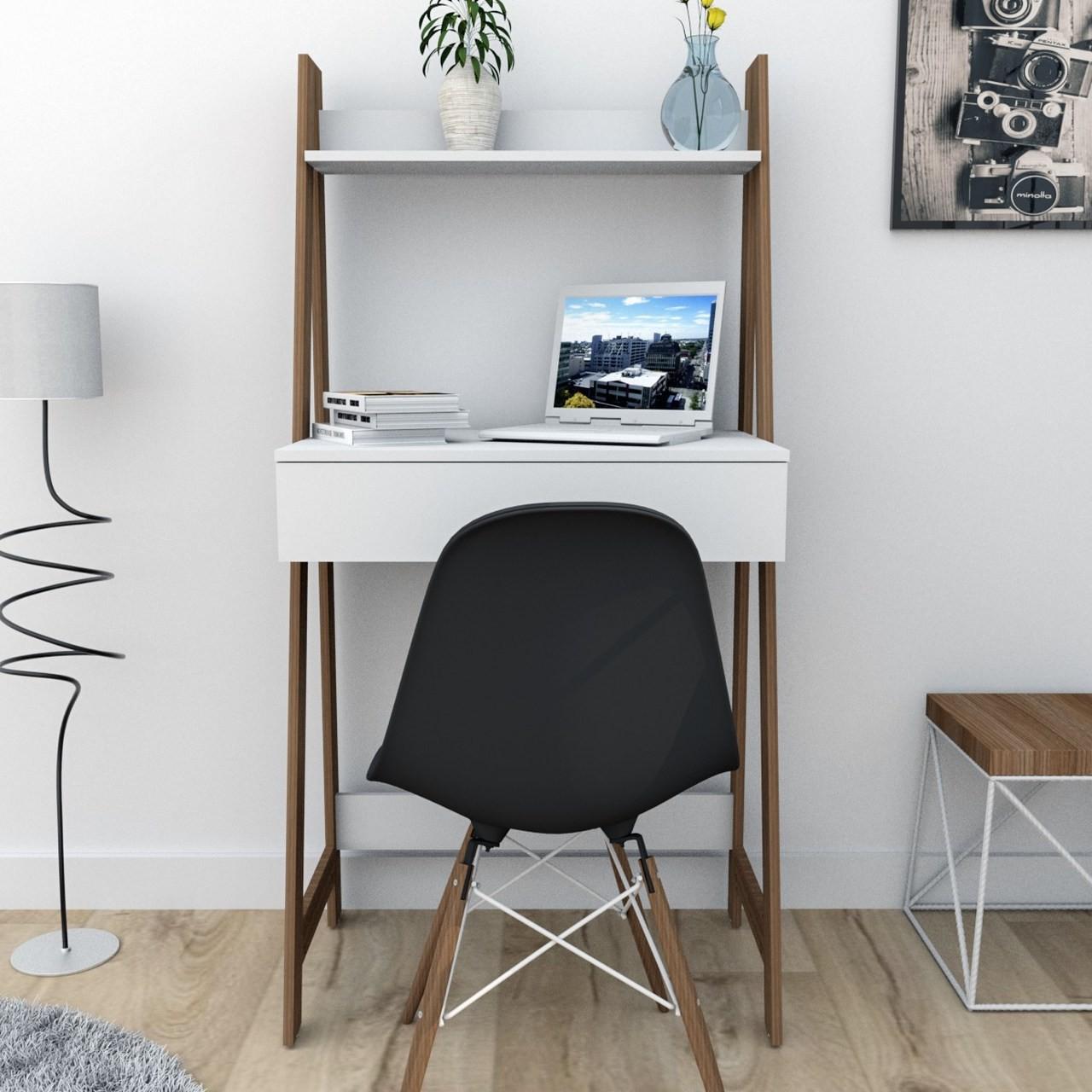 Escrivaninha Estante 1 Gaveta Branco e Castanho
