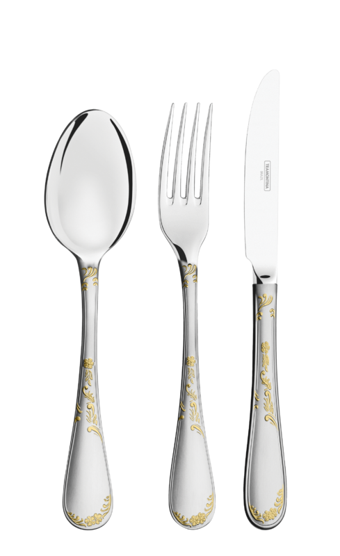 Faqueiro RENASCENÇA com Detalhes em Ouro 130 Peças Tramontina Design Collection 66929/242