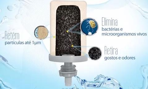 Filtro de Água Cristal 8 L com 2 Velas Esterilizante Tripla Ação