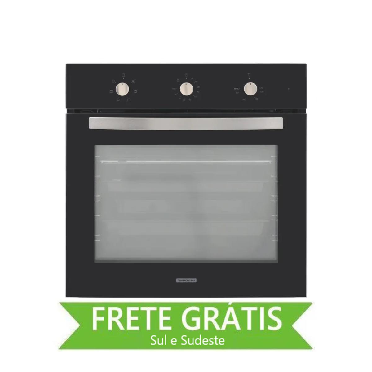Forno Elétrico de Embutir New Glass Cook em Vidro Temperado Preto 7 Funções 71 L Tramontina 94867/220
