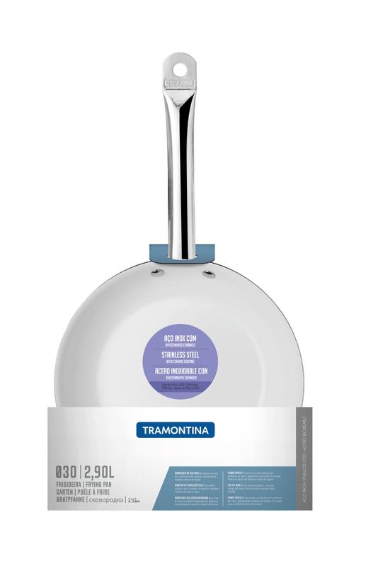Frigideira Rasa Professional em Aço Inox Fundo Triplo Revestimento Interno em Cerâmica Branca 30 cm 2,9 L Tramontina 62635/304