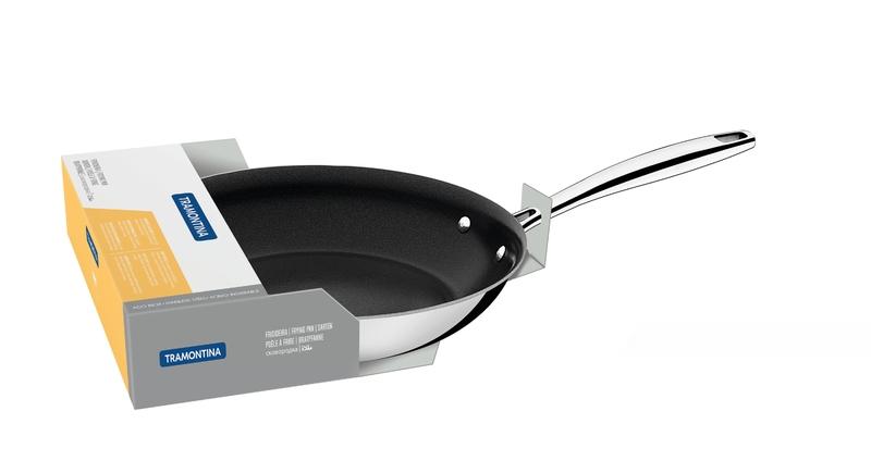 Frigideira Rasa Trix em Aço Inox com Fundo Triplo Revestimento Interno em Antiaderente 26 cm 2,1 L Tramontina 62835/267