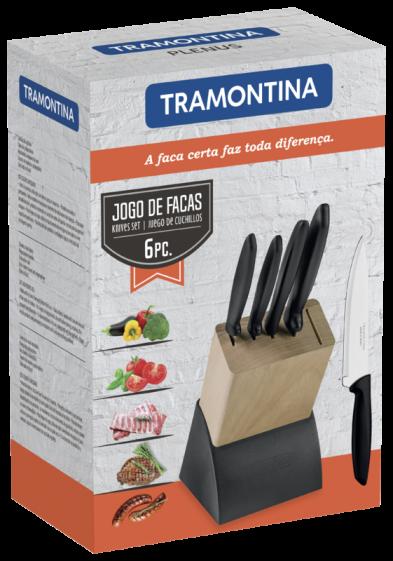 Jogo de Facas Tramontina Plenus com Lâminas em Aço Inox e Suporte de Madeira 6 Peças Tramontina 23498/028