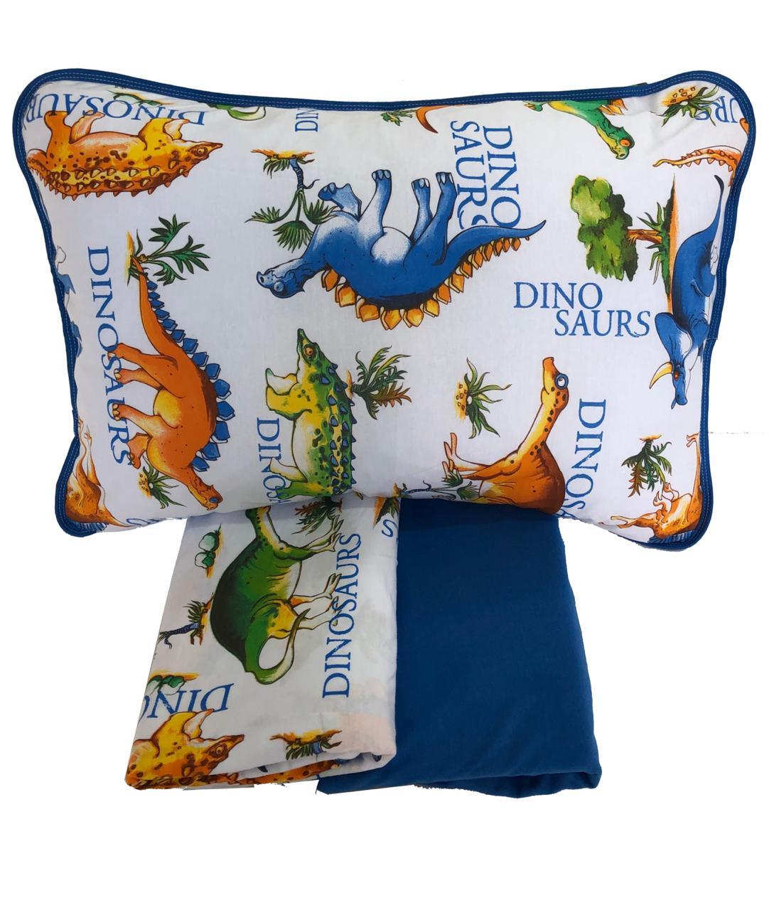 Jogo de Lençol de Malha em Algodão King Size Branco e Azul Dinossauro