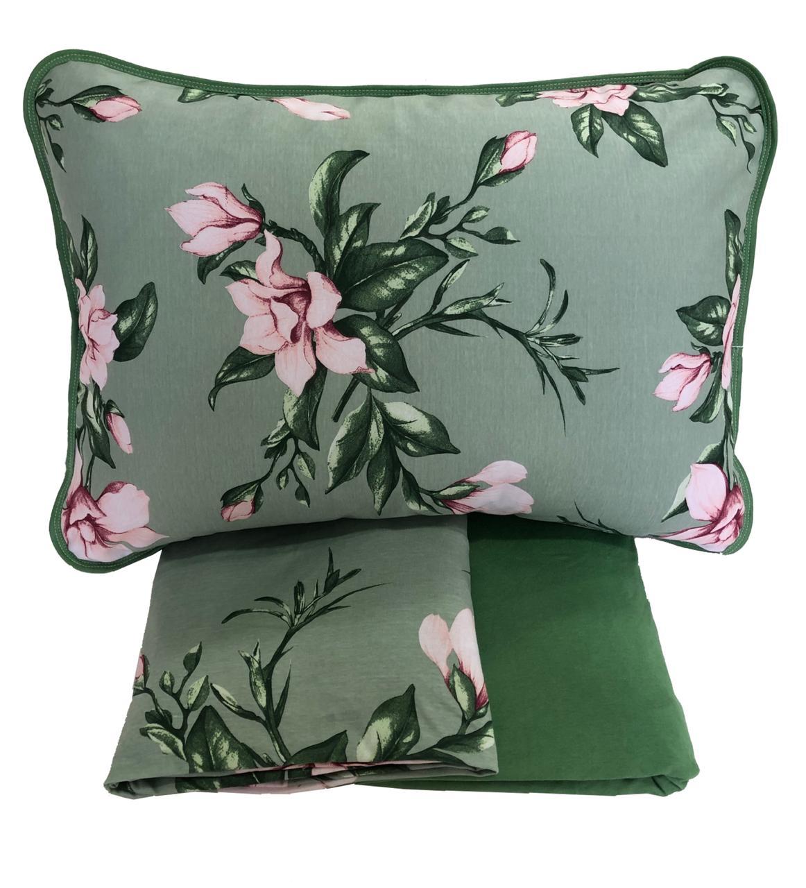 Jogo de Lençol de Malha em Algodão Queen Verde Florido