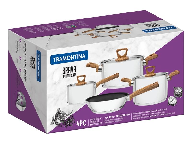 Jogo de Panelas Brava 4 Peças em Aço Inox com Fundo Triplo Antiaderente Tramontina 65300/310