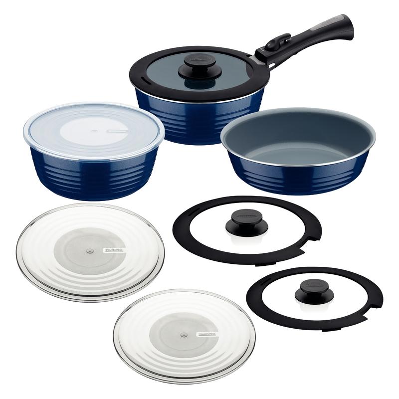 Jogo de Panelas Itria 10 Peças Azul em Alumínio com Revestimento Interno Cerâmico e Cabo Removível Tramontina 20999/100