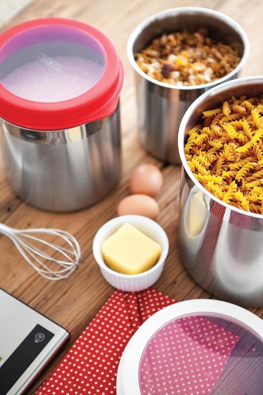 Jogo de Potes Cucina em Aço Inox Tampa Plástica Branca com Visor 3 Peças Tramontina 64220/624