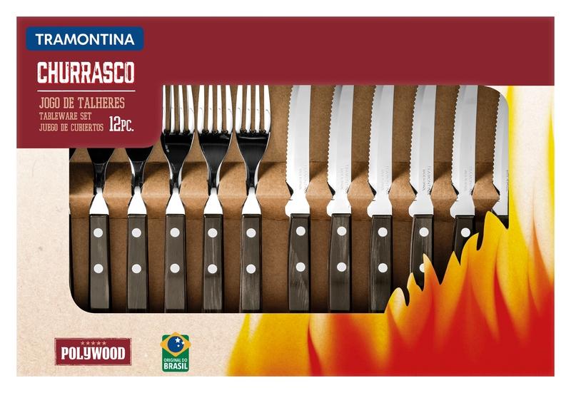 Jogo de Talheres para Churrasco 12 Peças em Aço Inox com Cabo Castanho Polywood Tramontina 21199/903