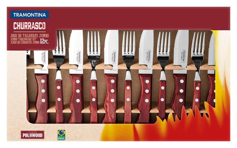 Jogo de Talheres para Churrasco Jumbo 12 Peças em Aço Inox com Cabo Vermelho Polywood Tramontina 21199/796