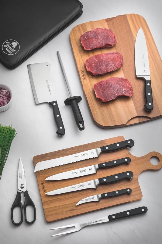 Kit Chef 10 Peças em Aço Inox Cabo de Policarbonato e Fibra de Vidro com Estojo Tramontina 24099/021