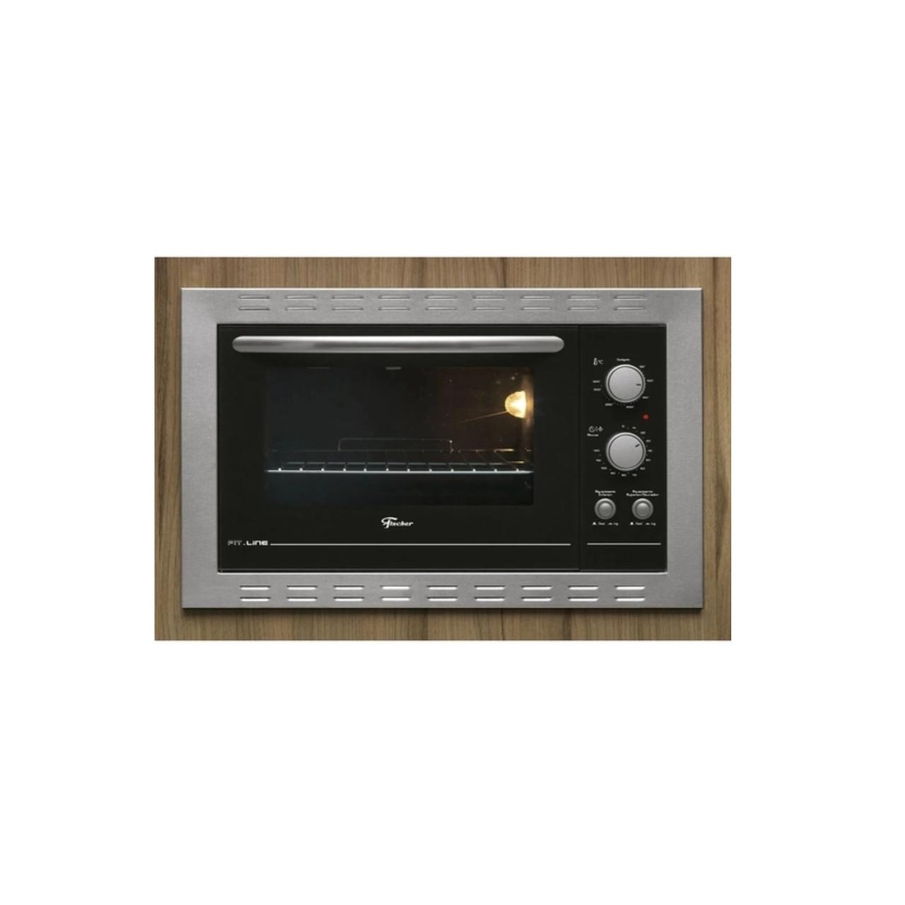 Kit Forno Elétrico 44L E Micro-Ondas Com 8 Funções De Embutir em Aço Inox Fischer 220 V