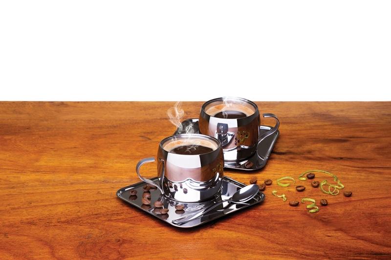 Kit para Café em Aço Inox Acabamento Brilho com Xícara Pires Quadrado e Colher 18 Peças Tramontina 64430/810