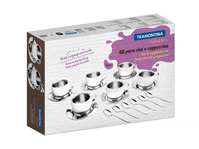 Kit para Chá e Capuccino em Aço Inox Acabamento Brilho com Xícara Pires e Colher 18 Peças Tramontina 64430/820