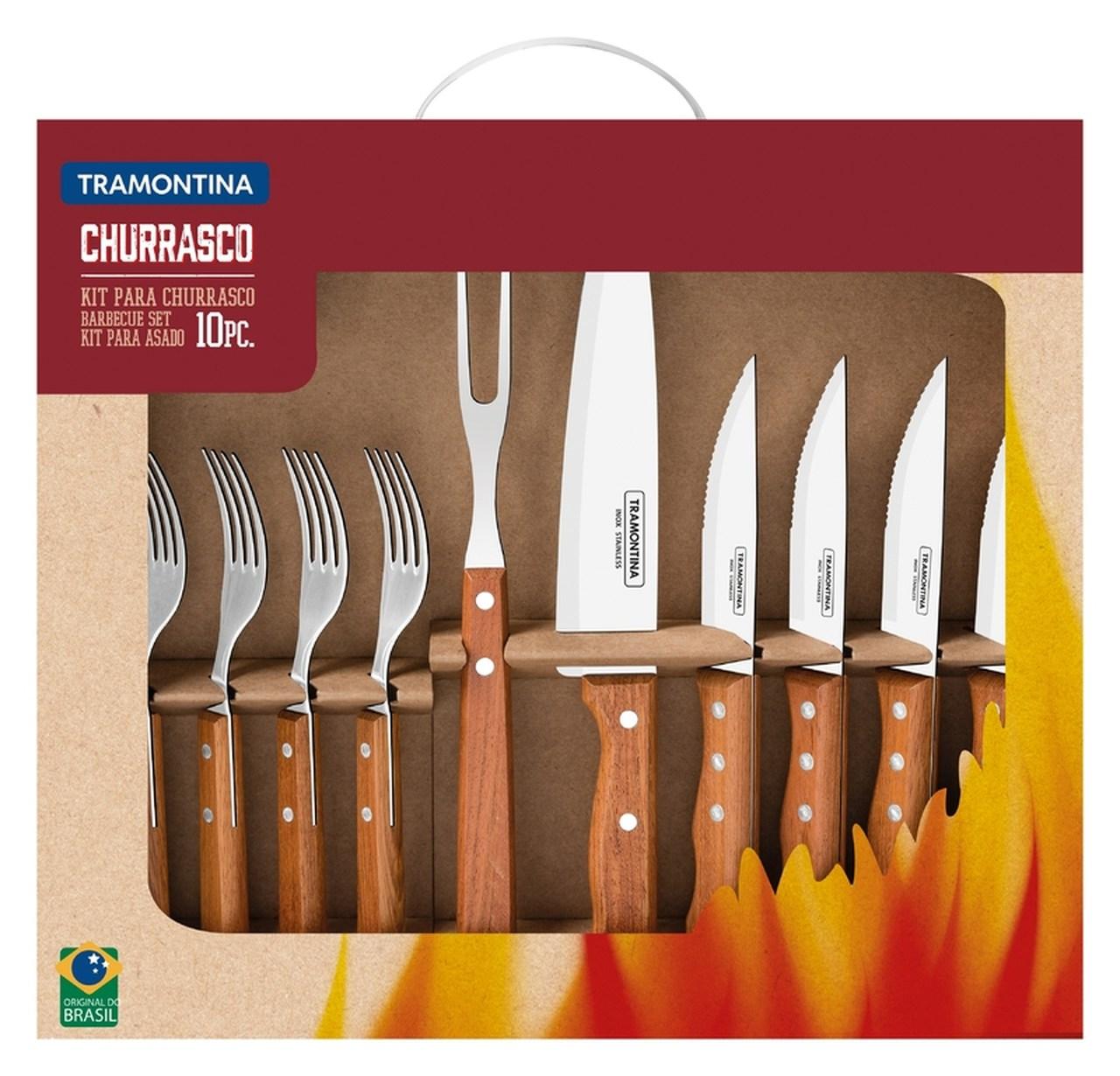 Kit para Churrasco 10 Peças em Aço Inox com Cabo de Madeira Natural Tramontina 22399/037