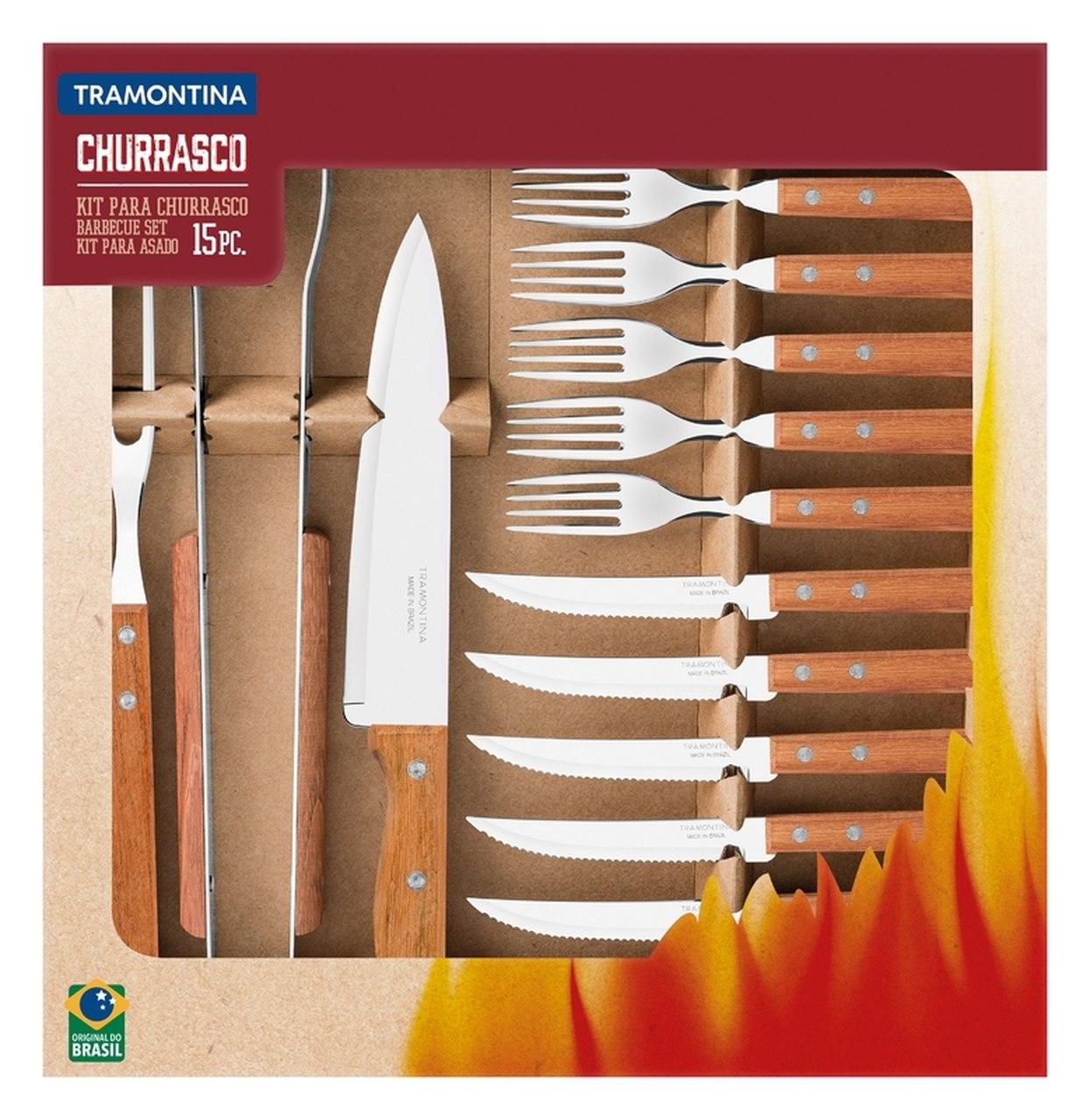 Kit para Churrasco 15 Peças em Aço Inox com Cabo de Madeira Natural Tramontina 22399/028