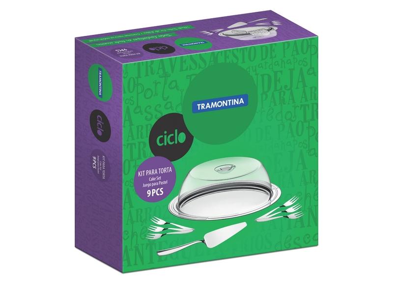 Kit para Torta Ciclo em Aço Inox 9 Peças Tramontina 64510/880
