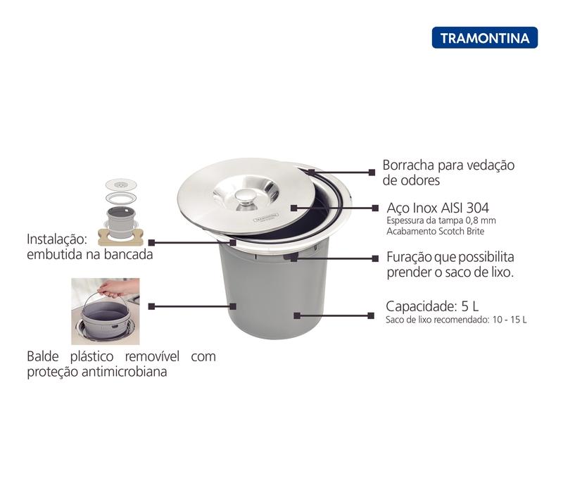 Lixeira de Embutir Clean Round 8 L em Aço Inox com Balde Plástico Tramontina 94518/000