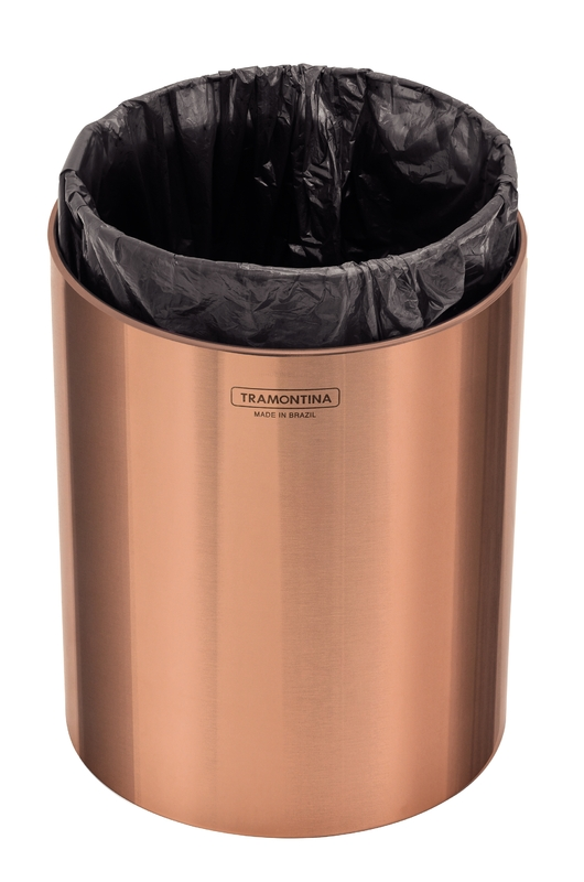 Lixeira Útil 5 L em Aço Inox Scotch Brite com Revestimento Especial a Base de Verniz Rose Gold Tramontina 94540/053