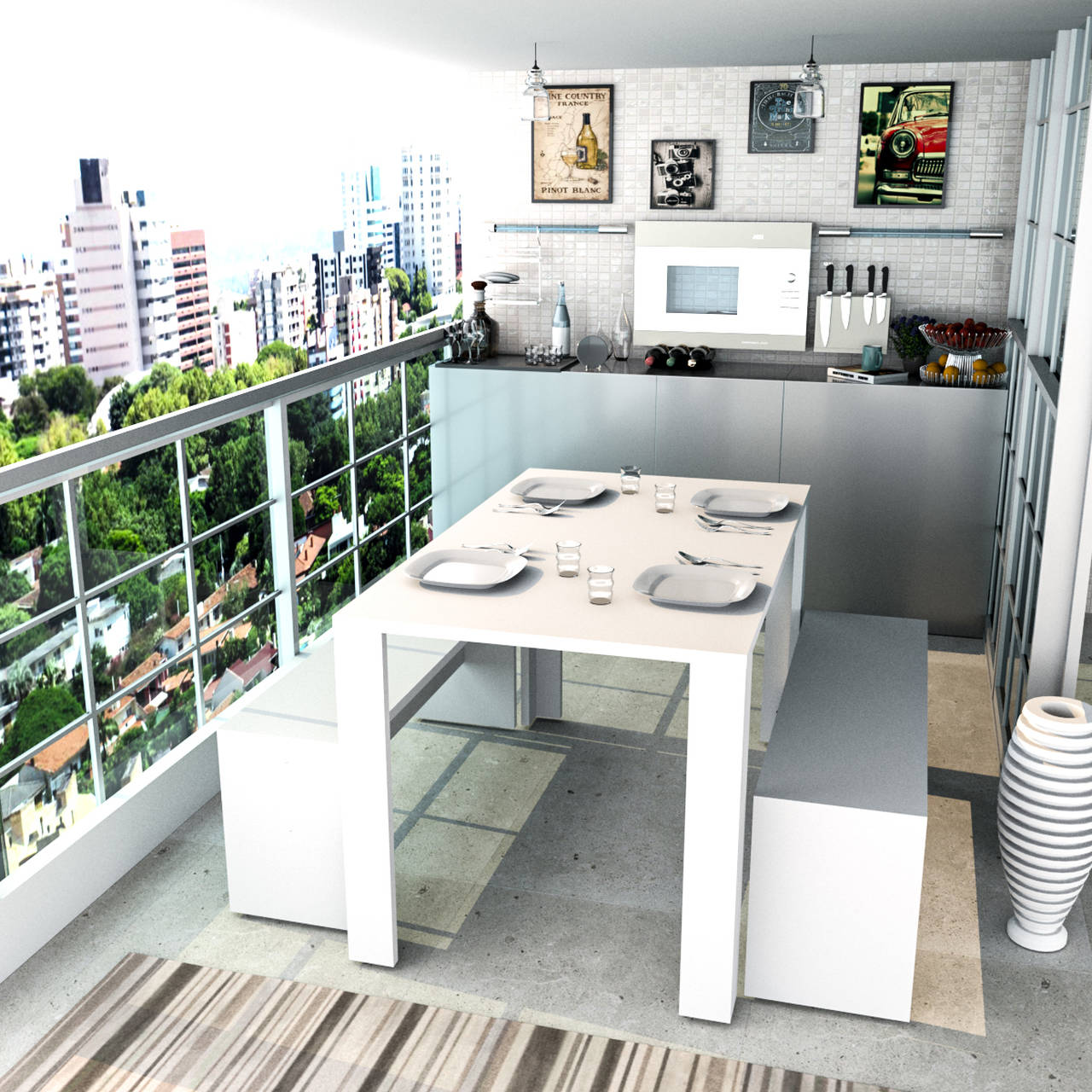 Mesa de Jantar com 2 Bancos Liv Branco