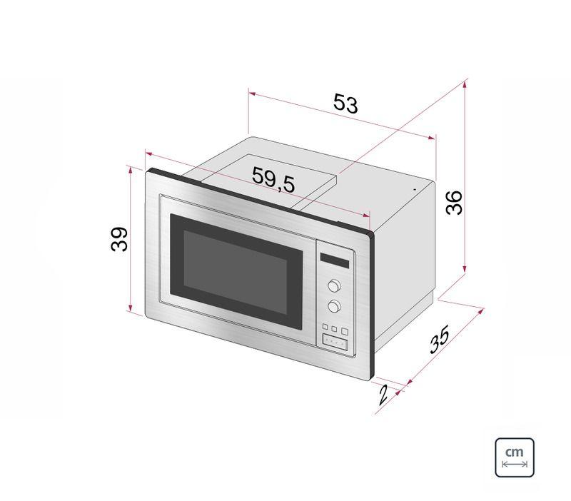 Micro-ondas de Embutir em Aço Inox com Acabamento Scotch Brite 8 Funções 25 L Tramontina 94880/003