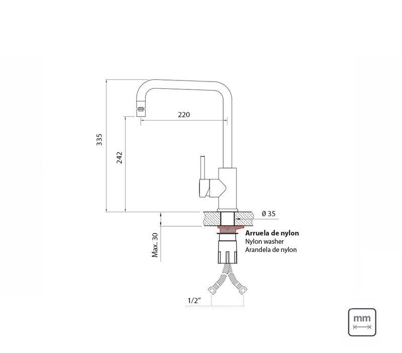 Misturador Monocromado Com Bica Articulada 94520/012 Tramontina