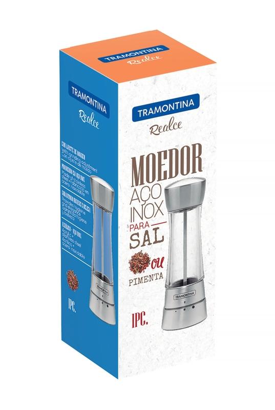 Moedor de Sal ou Pimenta em Aço Inox e Acrílico com Moinho em Cerâmica Tramontina 61654/100