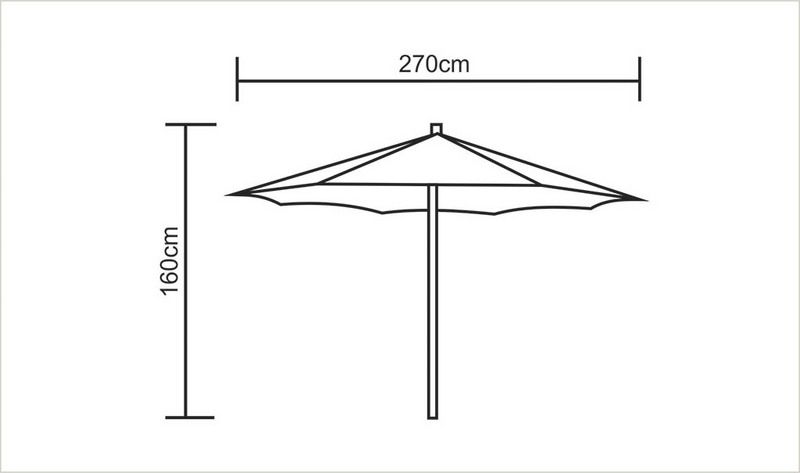 Ombrelone de 2,7 metros Cor Verde c/proteção UV Tramontina 10999/061