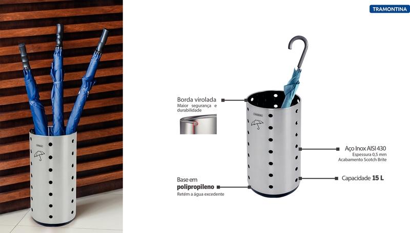 Porta Guarda-Chuva em Aço Inox Dry Color 15 L Tramontina 94540/602