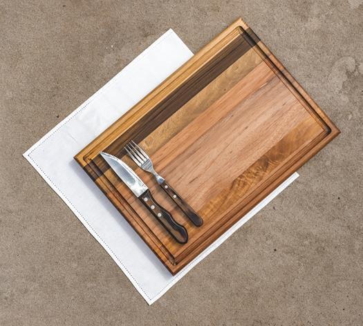 Tábua para Churrasco em Madeira Teca 43x30 cm