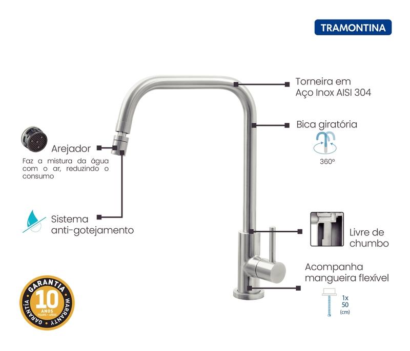 Torneira de Bancada Angolare Aço Inox Tramontina 94520/020