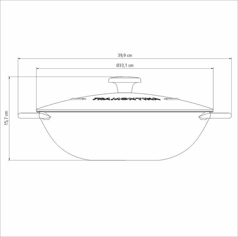 Wok Trento 32 cm 5 L em Ferro Esmaltado com Revestimento Interno Antiaderente Starflon Excellent Tramontina 20806/032