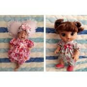 Conjunto de vestido e calcinha para Mini  Bebê Reborn  e Baby alive pequena