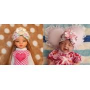 Turbante de malha para Paola Reina e Mini bebê reborn Sália