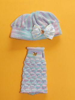 Conjunto de boina e vestido para Blythe   - CANTINHO DA MANDINHA