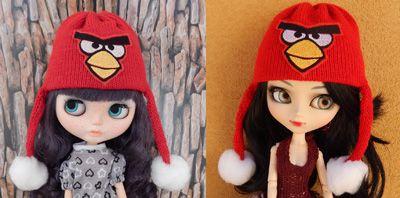 Touca Angry Birds para Blythe e Pullip   - CANTINHO DA MANDINHA