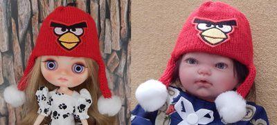Touca Angry Birds para Middie e Mini Bebê reborn   - CANTINHO DA MANDINHA
