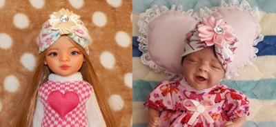 Turbante de malha para Paola Reina e Mini bebê reborn Sália   - CANTINHO DA MANDINHA