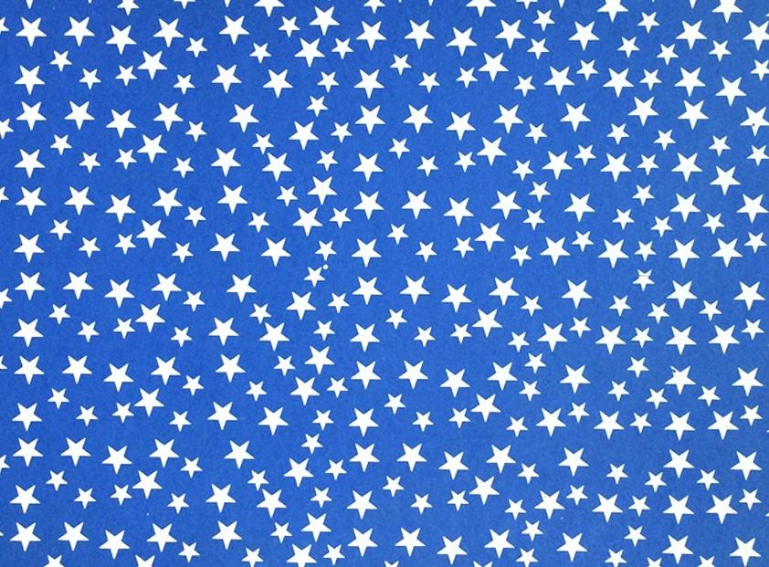 Placa Estrela Cheia Branco Fundo Azul Royal 40x60cm  -